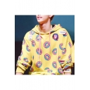 Allover Doughnut Printed Loose Fit Pullover Drawstring Hoodie in Yellow