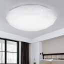 Diamond Shade Flush Light Modern Fashion Acrylic LED Ceiling Fixture in White for Office Foyer