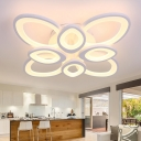 8/12 Heads Oval Ring Lighting Fixture with Metal Canopy Minimalist Modern LED Semi Flush Mount in White