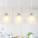 Frosted Glass Dome Hanging Light Simplicity 1 Light Suspension Light in Chrome for Foyer