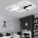 Modernism X Shape Canopy Ceiling Lamp with Rectangle Shade Acrylic LED Flush Mount in Warm/White