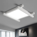 Crossed Lines LED Ceiling Flush Minimalist Acrylic Flush Light Fixture in Third Gear with Square Shade