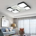 Contemporary Blocks Flush Mount Metal LED Flush Lighting in Black and White for Living Room