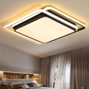 Contemporary Geometric Pattern Flushmount Acrylic LED Ceiling Light in Black for Staircase