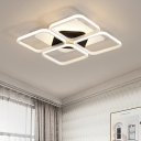 Metal Square Ring LED Ceiling Fixture Modern Fashion Surface Mount Ceiling Light in White