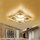 Metal Square Canopy Ceiling Lamp with Geometric Pattern Modern 4-LED Semi Flushmount in White