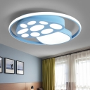 Mushroom LED Flush Light Blue/Pink/Yellow Acrylic Ceiling Lamp with Halo Ring for Living Room