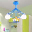Sphere 3 Lights Semi Flush Mount with Cartoon Horse Nursing Room White Glass Shade Lighting Fixture