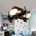 Opal Glass Shade Chandelier with Black Biplane Triple Heads Lighting Fixture for Boys Room