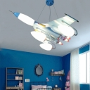 7 Lights Airplane Chandelier Light Boys Bedroom Metal Suspension Light in Sky Blue