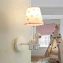 Pink/White Cartoon Horse Wall Sconce with Dottie Fabric Shade Single Light Wall Lighting for Children
