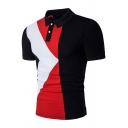 Men's Stylish Geometric Printed Two-Button Short Sleeve Fitted Polo Shirt