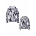 Fashion 3D Comic Girl Printed Long Sleeve Fitted Zip Up Black Hoodie