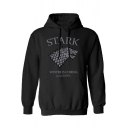 Fashion Letter STARK WINTER IS COMING Wolf Logo Print Casual Hoodie