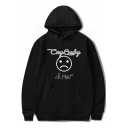 Fashion American Rapper Letter CRY BABY Sad Face Print Basic Casual Hoodie