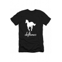 Stylish Rock Letter DEFTONES Horse Print Casual Loose T-Shirt