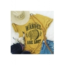 Indian Letter NOT ALL WHO WANDER ARE LOST Print Summer Yellow T-Shirt