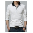 Men's Basic Turn-Down Collar Cotton Long Sleeve Fitted Business Polo
