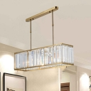3 Lights Rectangle Chandelier Light Modern Luxury Crystal Suspended Light in Gold for Hotel Hall