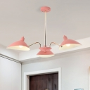 Nordic Style Curved Arm Suspended Light Metallic Triple Heads Hanging Ceiling Lamp in Pink