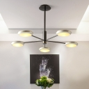 5 Lights Disc Shade Chandeliers Simple Modern Metal Living Room Lighting in Black Nickel Finish