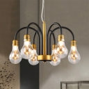 6 Lights Bulb Shape Hanging Chandelier with Curved Arm Modern Design Glass Lamp Light in Brass