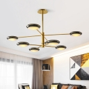 2 Tiers Round Disc Chandelier with Acrylic Shade Modernism Rotatable 8 Heads Lighting Fixture in Gold