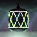 Bucket Hanging Ceiling Lamp Modernism 3D Glass Shade Single Head Pendant Light in Chrome