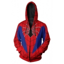 Spider Man 3D Pattern Long Sleeve Cosplay Costume Red Zip Up Hoodie