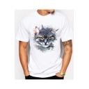 Summer 3D Cute Cartoon Cat Printed Short Sleeve White T-Shirt