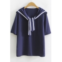 Striped Tied Sailor Collar Summer Relaxed Cotton T-Shirt