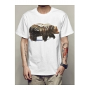 New Trendy Bear Printed Basic Short Sleeve White Loose Fit T-Shirt