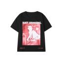 Street Fashion Letter LOST SRNKBAL Portrait Pattern Basic Short Sleeve Summer Black Tee