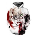 Half Harleys and Jokers Faces Tattoo 3D Print Loose Fit Sport Hoodie in White