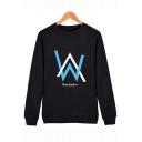Norwegian DJ Letter Logo Print Basic Round Neck Long Sleeve Relaxed Sweatshirt