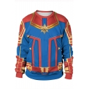Cosplay Costume Round Neck Long Sleeve Loose Fit Blue Sweatshirt