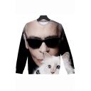 German Director Cool 3D Figure Cat Printed Basic Round Neck Long Sleeve Pullover Sweatshirt