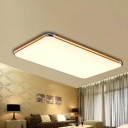 Ultra Thin Rectangle Flush Mount Contemporary Concise LED Ceiling Light with Gold Metal Frame
