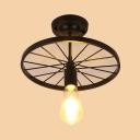 Single Light Open Bulb Ceiling Lamp with Black Wheel Retro Style Metal Art Deco Ceiling Flush Mount