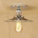 Polished Chrome Flared Semi Flush Mount Industrial Metal 1 Bulb Ceiling Lamp for Study Room