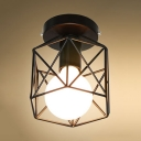 Metal Cage Ceiling Fixture with White Hexagon Shade Modern Chic 1 Bulb Mini Surface Mount Light