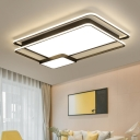 Modern Linear LED Flushmount Metallic Ambient Ceiling Flush in White for Dining Room Bedroom
