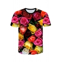 3D Red Floral Pattern Round Neck Short Sleeve Loose Casual T-Shirt