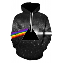 Creative 3D Rainbow Triangle Galaxy Pattern Long Sleeve Sport Black Drawstring Hoodie