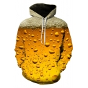 Fashion 3D Beer Bubble Pattern Long Sleeve Yellow Drawstring Hoodie