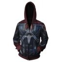 Cool Colorblock Spider Man Printed Long Sleeve Navy Hoodie