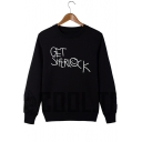 Funny Smile Face Letter GET SHERLOCK Pattern Long Sleeve Loose Fit Pullover Sweatshirt