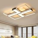 Contemporary L Shape Flush Lighting with 4 Rectangle Frame Metallic LED Flushmount for Gallery