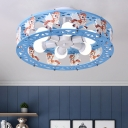 Blue/Pink Drum Semi Flush Light with Cartoon Horse Metal 6 Lights Ceiling Light for Kids