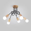 3/5 Heads Twisted Hanging Light Fixture with Open Bulb Minimalist Metal Lamp Light in Wood